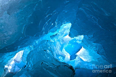 Lighting In Nigardsbreen Glacier Grotto 3 Art Print by Heiko Koehrer-Wagner