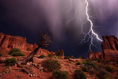 Courthouse Rock Photograph - Lighting With A Mesquite Tree by Raul Touzon