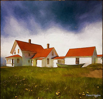 Digital Art - Lightkeepers House Monhegan Island  Maine by Dave Higgins