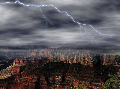 1920s Flapper Girl - Lightning - North Rim of Grand Canyon by Clifford Pugliese