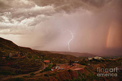 Photograph - Lightning And A Rainbow by Ron Chilston