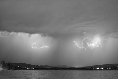 Corporate Art Photograph - Lightning And Rain Over Rocky Mountain Foothills Bw by James BO  Insogna