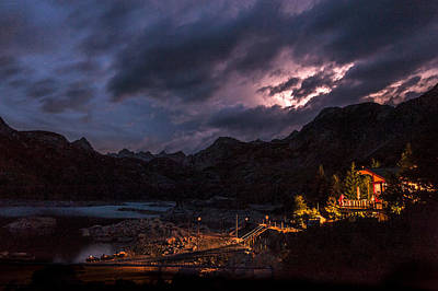 Nightsky Photograph - Lightning At Lake Sabrina by Cat Connor
