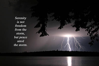 Photograph - Lightning At Night - Inspirational Quote by Barbara West