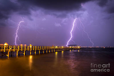 Lightning At The Pier Print by Marvin Spates