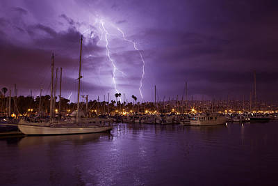 Lightning Behind Santa Barbara Harbor  Mg_6541 Art Print