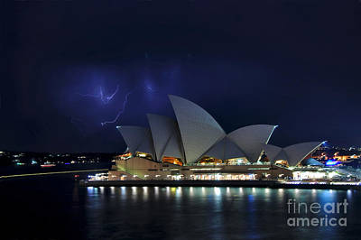 Lightning Behind The Opera House Art Print by Kaye Menner