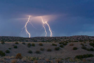 Photograph - Lightning Dance Over The New Mexico Desert by Mary Lee Dereske
