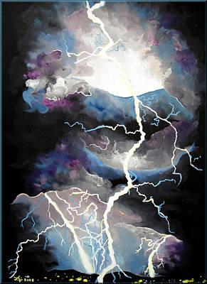 Art Print featuring the painting Lightning by Daniel Janda