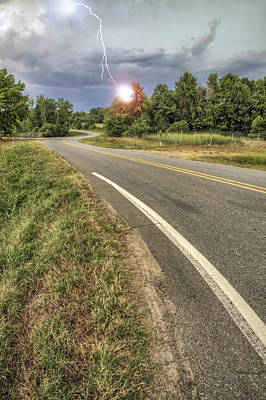 Photograph - Lightning Highway - Storm - Winding Road by Jason Politte