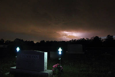 Photograph - Lightning In The Cemetery by Andrea Kelley
