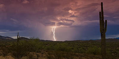 Lightning Bolt Photograph - Lightning Lights Up The Desert  by Saija  Lehtonen