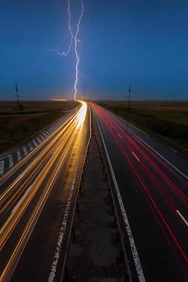 Lightning On Highway Original by Dan Mirica