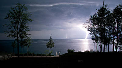 Photograph - Lightning On Lake Michigan At Night by Mary Lee Dereske