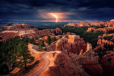 Thunderstorm Photograph - Lightning Over Bryce Canyon by Stefan Mitterwallner