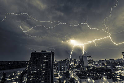 Photograph - Lightning Over Downtown Yxe by Gerald Murray Photography