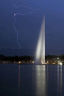 Geneva Photograph - Lightning Over Geneva Water Jet by Patrick Jacquet