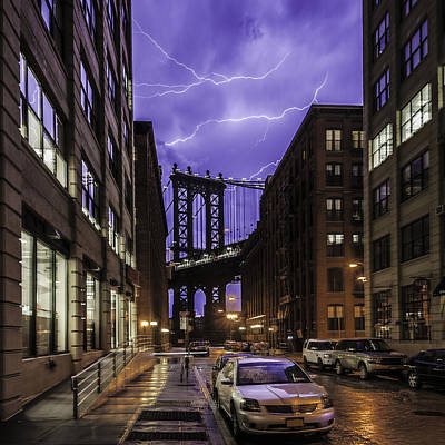Photograph - Lightning Over Manhattan Bridge by Alex Potemkin