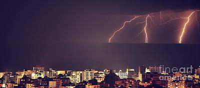Photograph - Lightning Over Night City by Anna Om