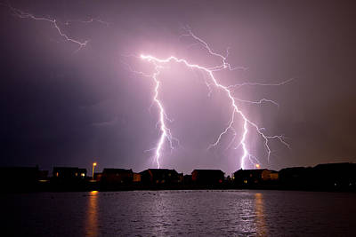 Photograph - Lightning Over Pond by Brandon  Ivey