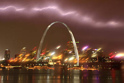 Lightning Over The Arch Art Print by Garry McMichael