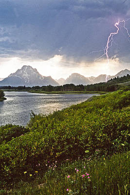 Lightning Over The Tetons Art Print