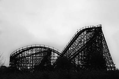 Rollercoaster Digital Art - Lightning Racer In Black And White - Hershey Park by Bill Cannon