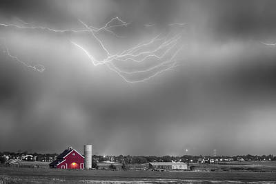 Photograph - Lightning Storm And The Big Red Barn Bwsc by James BO Insogna
