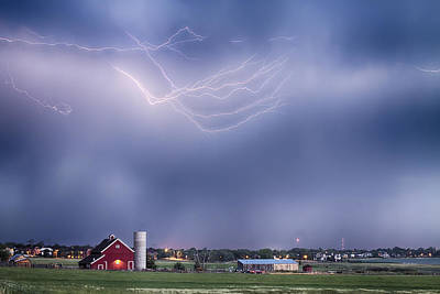 Lightning Storm And The Big Red Barn Art Print
