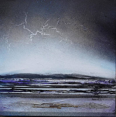 Mixed Media - Lightning Storm Druridge Bay 1 by Mike   Bell