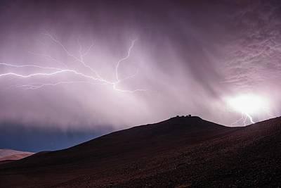 Lightning Photograph - Lightning Storm Over Cerro Paranal by G. Hudepohl/european Southern Observatory