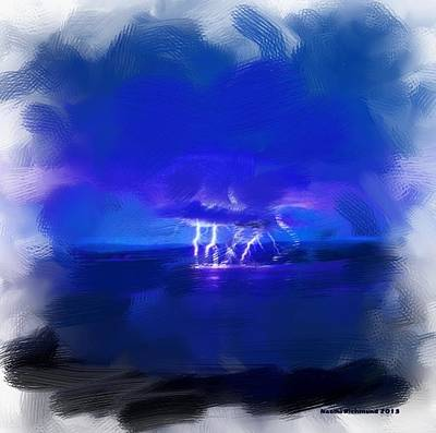Digital Art - Lightning Storm Over Clear Lake by Naomi Richmond