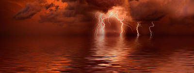 Lightning Photograph - Lightning Storm Over The Sea by Panoramic Images