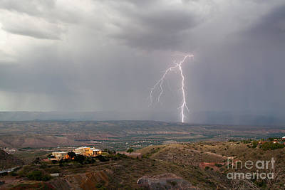 Photograph - Lightning Storm Over The Verde Valley As Seen From Jerome Arizona by Ron Chilston