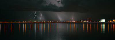 Florida Bridge Photograph - Lightning Storm Pano Work A by David Lee Thompson