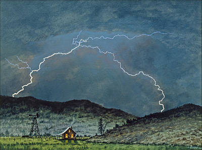 Lightning Wall Art - Painting - Lightning Storm   by Paul Krapf