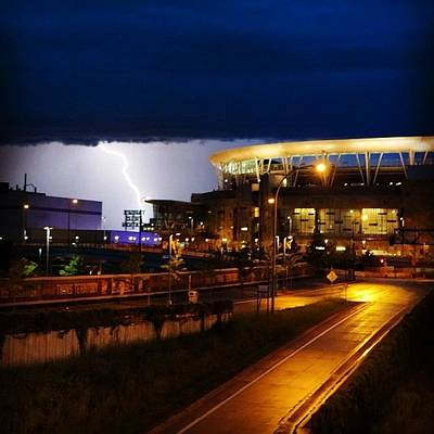 Baseball Photograph - Lightning Strike Beyond Target Field by Heidi Hermes