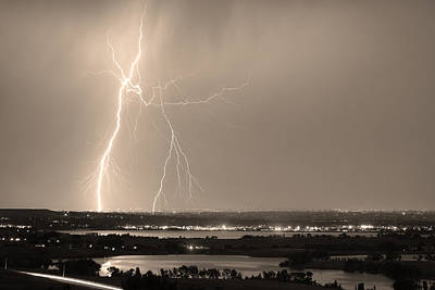 Photograph - Lightning Strike Boulder Reservoir And Coot Lake Sepia by James BO Insogna