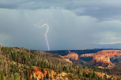 Lightning Bolt Photograph - Lightning Strike In Bryce Canyon. by Johnny Adolphson
