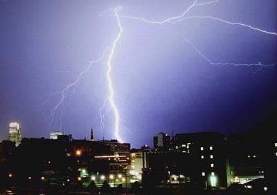 Lightning Strike In Omaha Art Print