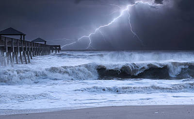 Seashore Photograph - Lightning Strike by Laura Fasulo