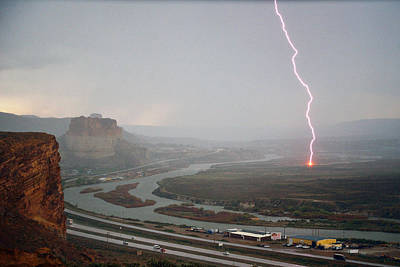 Lightning Strike Near Green River Art Print