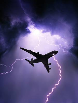 Lightning Photograph - Lightning Strike On Aircraft by David Parker