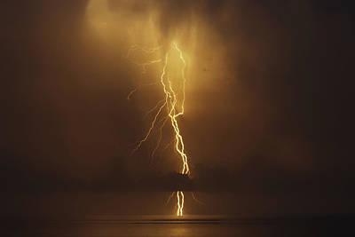 Drillship Photograph - Lightning Strike by Will Akers