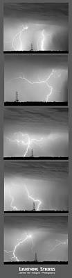 Stormy Photograph - Lightning Strikes 5 Image Vertical Progression  by James BO  Insogna