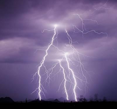 Lightning Strikes In The Sonoran Desert Art Print