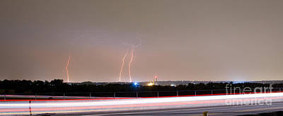 Lightning Strikes Next To Highway Panorama Art Print by James BO  Insogna