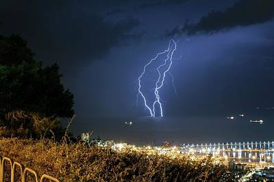 Lightning Photograph - Lightning Strikes The Mediterranean Sea by Photostock-israel