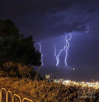 Lightning Strikes The Sea Art Print by Shay Vaknin