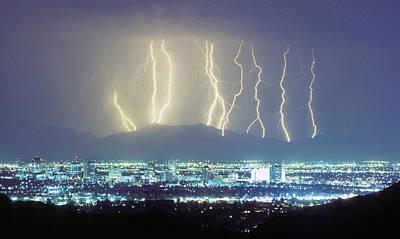 Phoenix Lightning Photograph - Lightning Striking Over Phoenix Arizona by James BO  Insogna